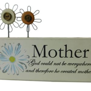 French Country God Created Mother Wooden Sign Ornament Timber with Wire Flowers New