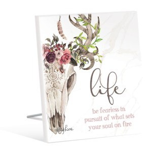 French Country Inspired Art Boho Skull Life Be Fearless Wooden Sign New