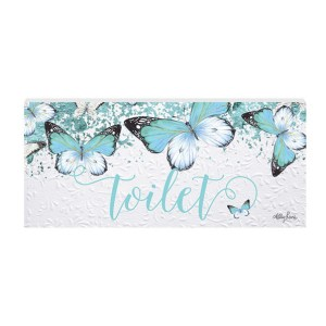French Country Wall Art Plaque Butterfly Toilet Wooden Sign New