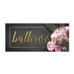 French Country Wall Art Plaque Midnight Floral Bathroom Wooden Sign New