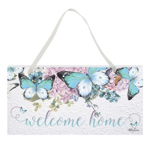 French Country Inspired Art Butterfly Welcome Home Wooden Sign New