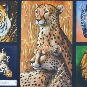 Patchwork Quilting Sewing Fabric African Animals Tiger Giraffe Panel 58x110cm New