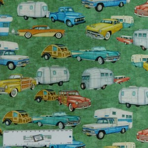 Patchwork Quilting Sewing Fabric Back Country Caravan 50x55cm FQ New Material