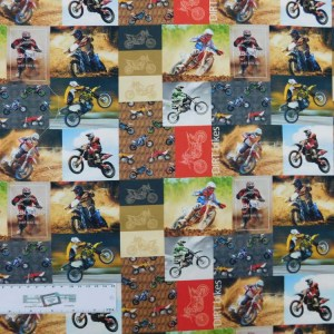 Patchwork Quilting Sewing Fabric Dirt Bikes Collage 50x55cm FQ New Material Allover