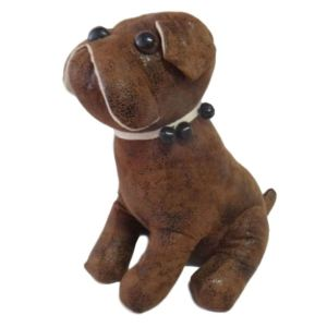 French Country LEATHER LIKE BROWN BULLDOG Doorstopper Sitting Weighted New