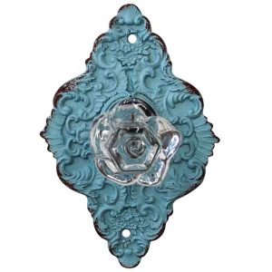 French Country Vintage Inspired Blue Ornate Diamond Back Crystal Knob x 2 New