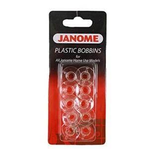 Sewing Machine Genuine JANOME Clear Set of 10 Bobbins NEW Freepost