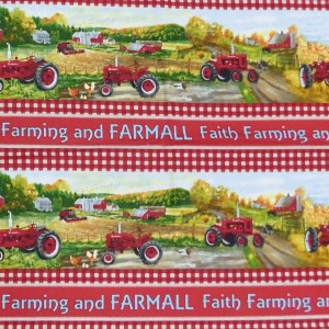 Patchwork Quilting Sewing Fabric FARMALL TRACTOR BORDER Panel 39x110cm New