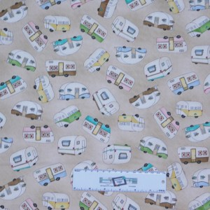 Patchwork Quilting Sewing Fabric ROAM SWEET HOME CARAVAN BROWN 50x55cm FQ New