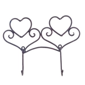 French Country Wall Art 2 HEART HOOKS Wrought Iron Keys Hats Rust NEW