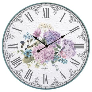 Clock Country Vintage Inspired Wall BEJEWELLED Flowers Clock 61cm New