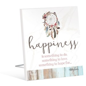 French Country Inspired Art Boho Dreams Catcher HAPPINESS Wooden Sign New