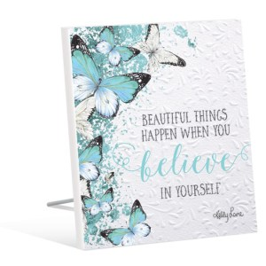 French Country Inspired Art Butterfly BELIEVE Freestanding Wooden Sign New