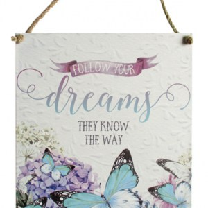 French Country Inspired Wall Art Bejewelled Butterfly DREAMS 30x40cm Tin Sign New