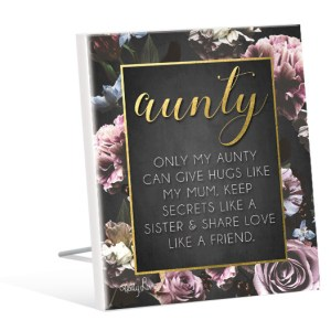 French Country Inspired Standing Art Midnight Floral AUNTY Glitter Wooden Sign New