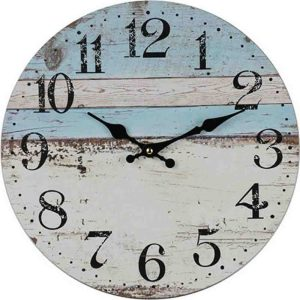 Clocks Country Vintage Inspired Wall HALF WHITE BLUE BOARDS Clock 34cm New
