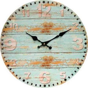 Clocks Country Vintage Inspired Wall RUSTIC BLUE BOARDS Clock 34cm New