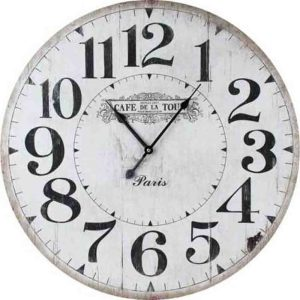 Clocks Country Vintage Inspired Wall CAFE DE LA TOUR PARIS Clock 60cm New