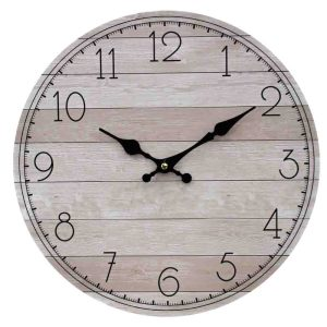 Clock Country Vintage Inspired Wall Hanging NATURAL BOARDS Clock 34cm New