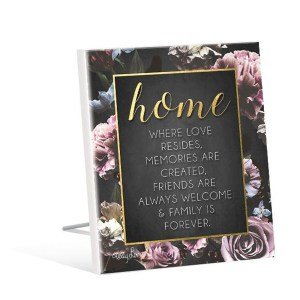 French Country Inspired Standing Art Midnight Floral HOME Glitter Wooden Sign New