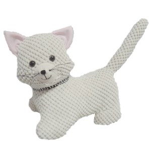 French Country CREAM FABRIC CAT Doorstopper Sitting Door Stop Weighted New