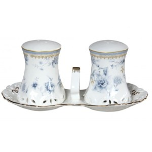 French Country Chic Collectable Salt and Pepper Set BLUE MEADOWS with TRAY New