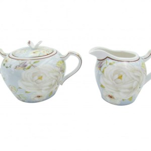 French Country Chic China Kitchen WHITE ROSE Sugar and Creamer Set New