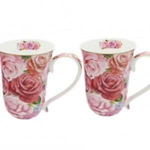 French Country Chic Kitchen Coffee Mugs Elegant ENDURING ROSE Set of 2 New