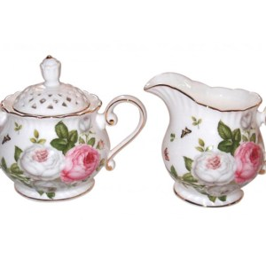 French Country Chic China Kitchen BUTTERFLY ROSE Sugar and Creamer Set New