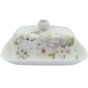 French Country Lovely Butter Dish with Tray WHITE ROSE with Gift Box New