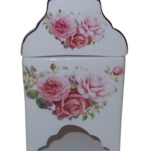 French Country Lovely Teapot PINK ROSE TEABAG HOLDER with Gift box New