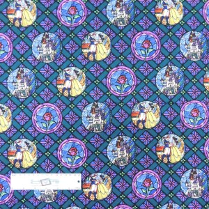 Patchwork Quilting Sewing Fabric BEAUTY AND THE BEAST WINDOWS 50x55cm FQ New