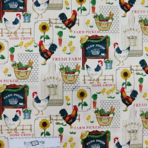 Patchwork Quilting Sewing Fabric SUNFLOWER ROOSTER MARKET 50x55cm FQ New