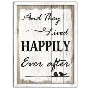Country Sign Vintage Inspired Wall Art THEY LIVED HAPPILY EVER AFTER Plaque New