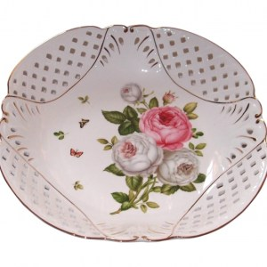 French Country Chic Kitchen Elegant Serving Fruit Bowl BUTTERFLY ROSE New