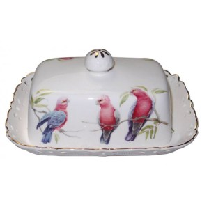 French Country Lovely Butter Dish with Tray AUSTRALIAN GALAH with Gift Box New