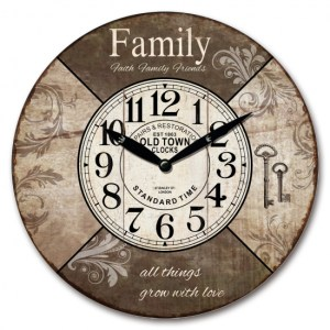 Clock Country Vintage Inspired Wall Hanging FAMILY FAITH FRIENS Clock 29cm New