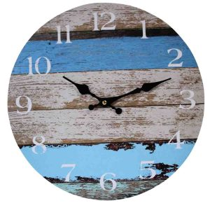 Clocks Country Vintage Inspired Wall JETTY and BLUE BOARDS Clock 34cm New