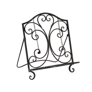 French Country Vintage Kitchen Wrought Iron REGAL BLACK Recipe Book Holder New
