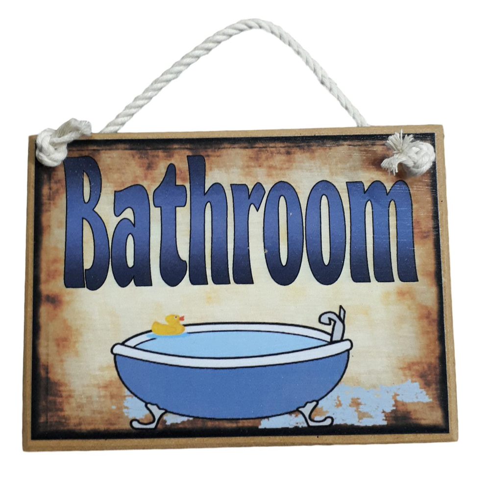 Country Printed Quality Wooden Sign Bathroom Plaque Sayings Hanging New