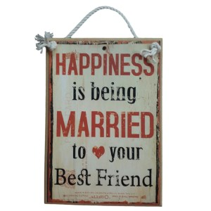 Country Printed Quality Wooden Sign HAPPINESS IS BEING MARRIED Plaque New
