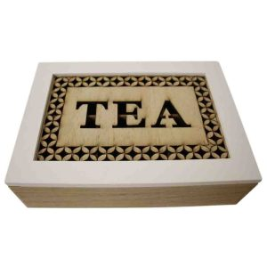 French Country Tea Bag Box WHITE WITH WOODEN CUTOUTS Large Teabag Holder New