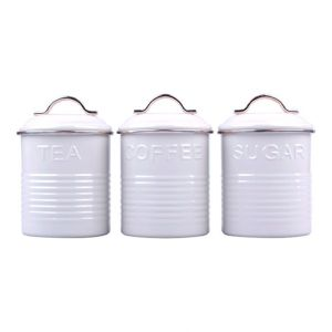 French Country Enamel Retro Kitchen Canisters WHITE Tea Coffee Sugar Set of 3 New