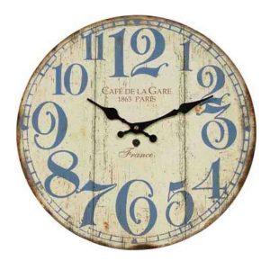 Clocks Country Vintage Inspired Wall CAFE DE LA GARE Clock 34cm New