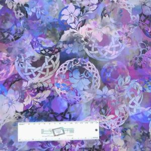 Patchwork Quilting Sewing Fabric DIAPHANOUS PURPLE WREATH 50x55cm FQ New
