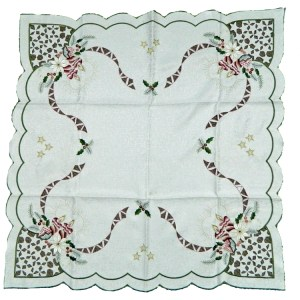 French Country Doiley Christmas Lace Doily Cutout Embroidery Table Topper Candles New