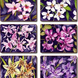 Country Inspired Kitchen ORCHID GARDEN Cinnamon Cork Backed Coasters Set 6 New