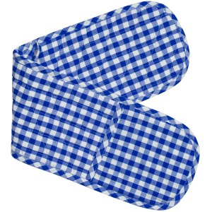 Gingham Check Kitchen Double Oven Gloves BLUE CHECK Pot Holder Mitts New