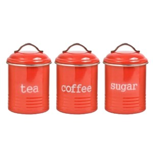 French Country Enamel Retro Kitchen Canisters RED Tea Coffee Sugar Set of 3 New