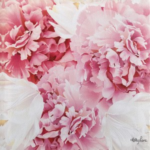 French Country Stretched Canvas Print BLUSH CRUSH CARNATIONS Sign 20x20cm New